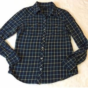 Lucky Brand Women's Blue Plaid Snap Up Shirt